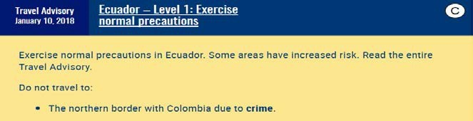 Ecuador as an example of a Travel Advisory